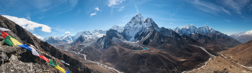 Fototapety, obrazy: Panoramic view of  great Himalayan range.  Mount Ama Dablam in the middle. Nepal, Everest area.