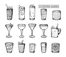 Alcoholic Drinks Set. Glass Of Cocktails. Isolated Black And White Vintage Engraving. Sketch Art Style. Hand Draw. Vector Illustration