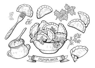 Fototapetadumplings set illustration