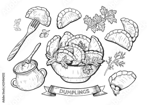 dumplings set illustration Canvas Print
