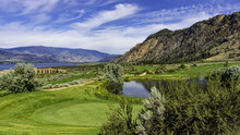A Golf Course In The Okanagan Valley Near Osoyoos British Columbia Canada With Osoyoos Lake In The Background