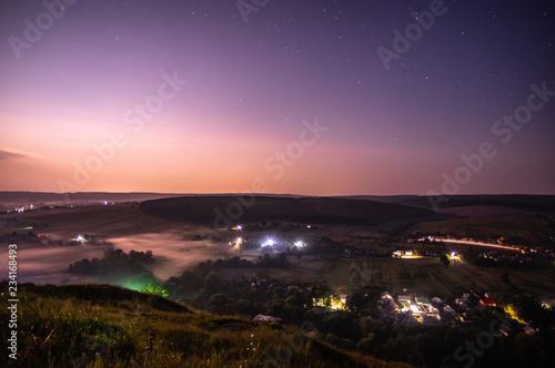 Foto op Aluminium Aubergine Night in the village