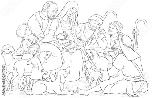 Fototapeta Christmas Nativity Scene with Holy Family (baby Jesus, Mary, Joseph) and shepher