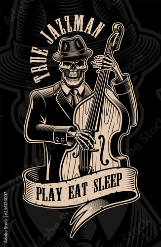 Photo Vintage  illustration of skull musician with double bass