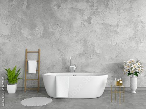 Photo  Bathroom interior bathtub, loft style, 3D rendering