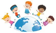 Vector Illustration Of Kids Pl...