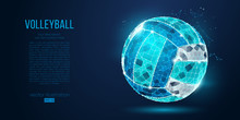 Abstract Silhouette Of A Volleyball Ball From Particles, Lines And Triangles On Blue Background. Neon Light. Elements On A Separate Layers Color Can Be Changed In One Click. Vector Illustration