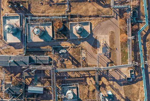Egypt Aerial view of industrial factory or plant buildings with steel storage construction tanks and pipes