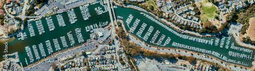 An aerial orthomosaic view of the Santa Cruz Harbor Wallpaper Mural