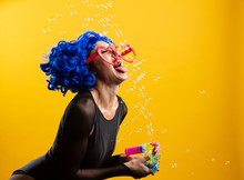 Woman With Colorful Blue Hair ...