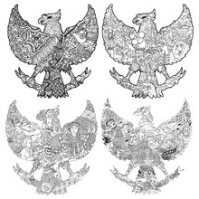 Beautiful Indonesia In Garuda Silhouete Black And White Illustration
