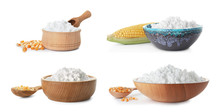 Set With Corn Starch And Kernels On White Background