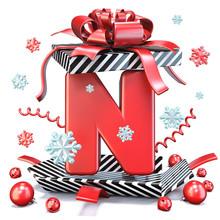 Red Letter N Inside Open Gift ...