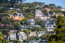 Houses On The Hills Of Sausalito, North San Francisco Bay Area, California