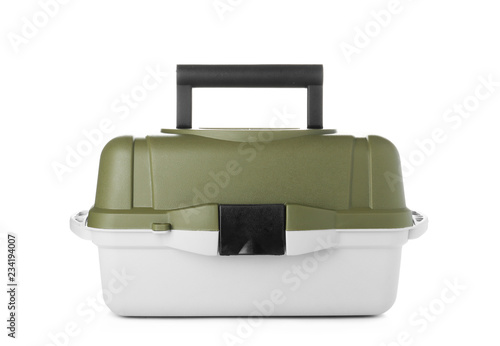 Box for fishing tackle on white background