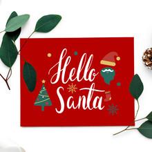 Hello Santa Christmas Card Mockup