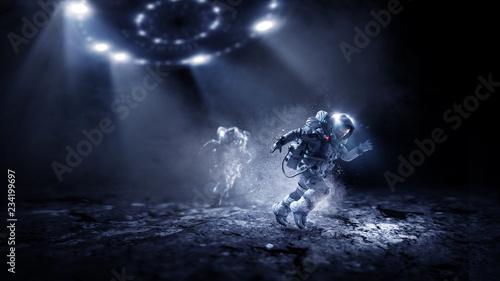 Garden Poster UFO Spaceman running fast. Mixed media