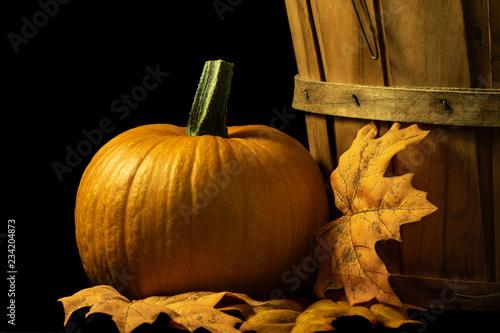 Foto op Plexiglas Herfst Autumn scene on black background with a pumpkin, leaves and a basket
