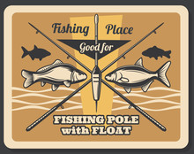 Fishing Sport Retro Poster, Fishes And Rods