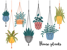 Set Of Macrame Hanging Plants In Pots. Hangers With Potted Indoor Garden Flowers. Handmade Home Decorations Made Of Cotton Rope Or Cord.Hand Drawn Cartoon,Scandinavian Hygge Style.Vector Illustration