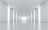 Fototapeta Do przedpokoju - Illuminated corridor interior design. 3D rendering.