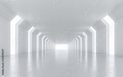 Illuminated corridor interior design. 3D rendering.