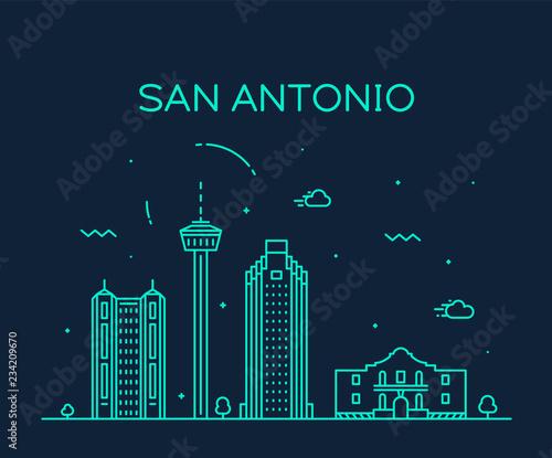 Photo San Antonio city skyline Texas USA vector linear