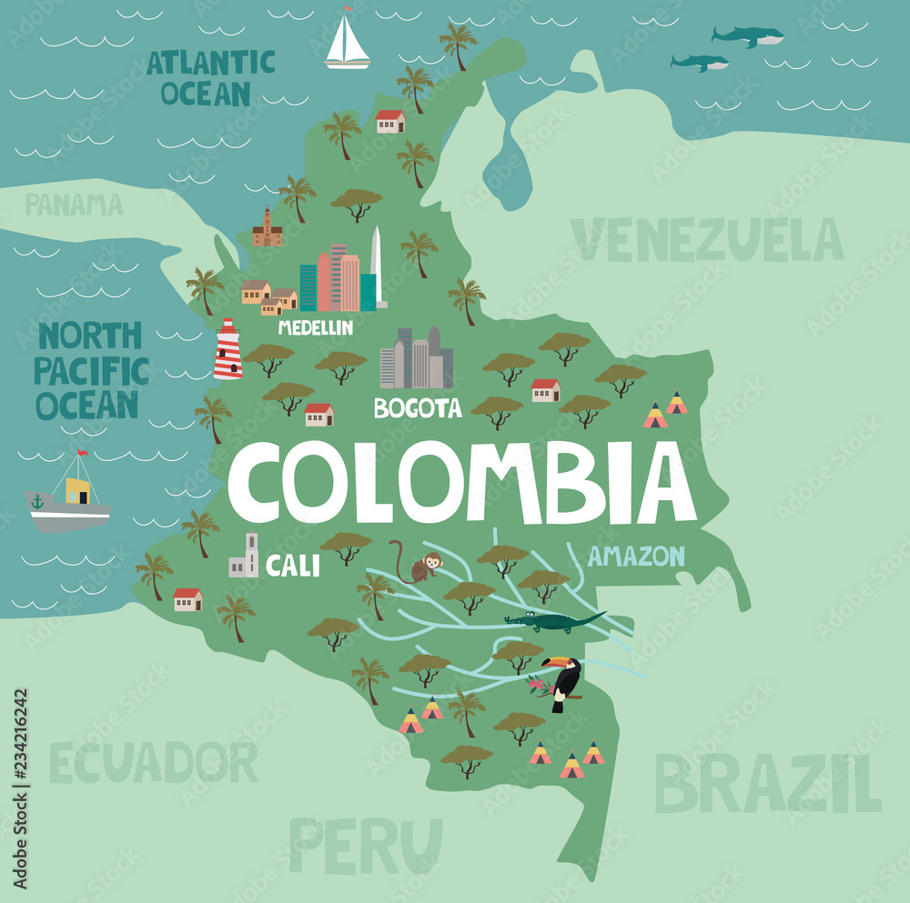 Illustration map of Colombia with city, landmarks and nature ...
