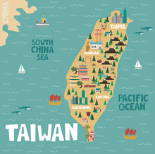 Illustration Map Of Taiwan Wit...