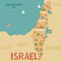 Illustration Map Of Israel With City, Landmarks And Nature. Editable Vector Illustration