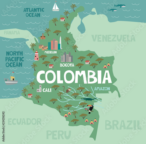 Stampa su Tela  Illustration map of Colombia with city, landmarks and nature
