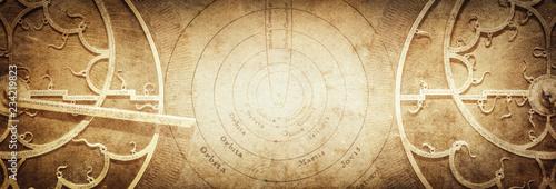 Photo Ancient astronomical instruments on vintage paper background