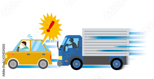 あおり運転のイメージイラスト|危険運転・道交法違反 自動車のイラスト ベクターデータ