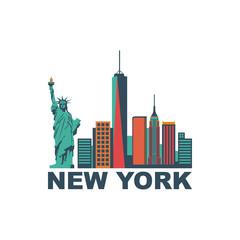 Fototapeta Nowy York Colorful New York City flat design vector