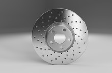 Auto Spare Parts For Passenger Car, New Brake Disk On White Background
