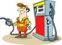 Gas Station Worker Holding Petrol Pump Standing Next To Fuel Dispenser