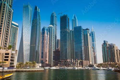 Canvas Prints Light pink Dubai Marina cityscape in United Arab Emirates