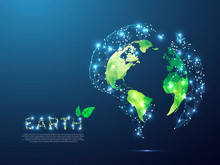 Green ECO Planet Earth View From Space. Low Poly 3d Illustration. Vector Polygonal Ozone Shield In The Form Of Globe With Starry Sky, Consisting Of Points, Lines, And Shapes