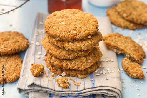 Fotografia Traditional homemade Anzac biscuits with oats and coconut
