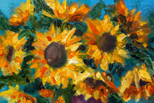 Sunflowers Flowers On Blue Background. Original Oil Painting Of Sunflowers On Canvas. Modern Impressionism.