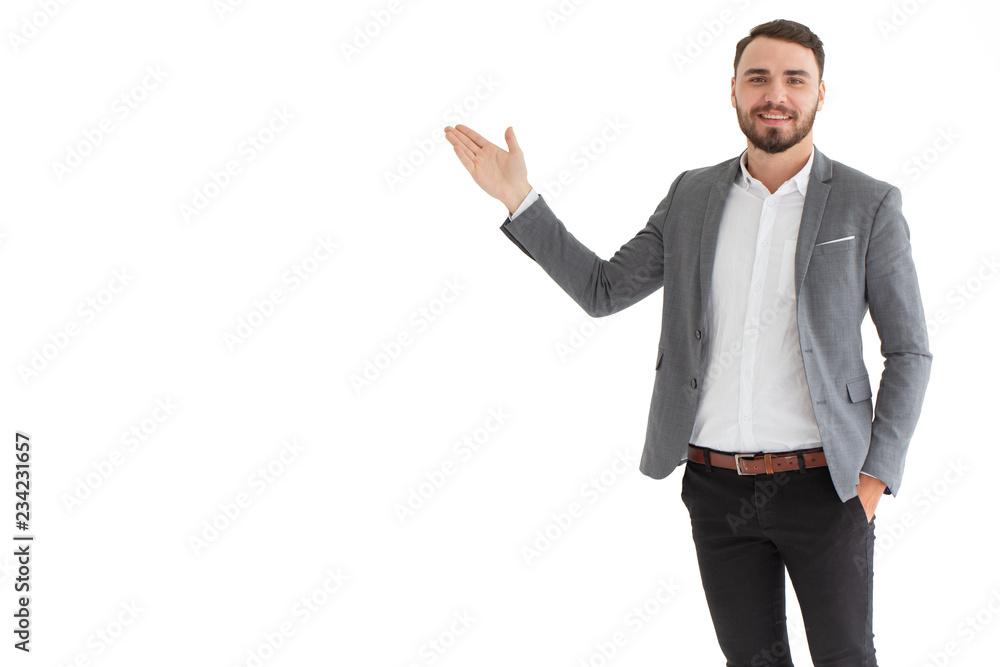 Fototapeta Caucasian businessman presentation smiling posture isolated on white background.