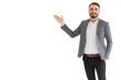 Caucasian businessman presentation smiling posture isolated on white background.