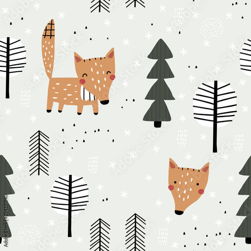 fototapeta na drzwi i meble Semless woodland pattern with cute fox and trees. Vector illustration. Scandinavian style. Creative hand drawn winter background