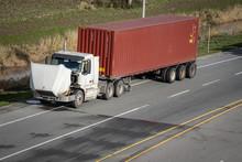 A Broken Semi Truck On The Sid...
