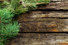 Vintage  Christmas Holiday Wooden Planks Rural Background. Beautiful Empty Christmas Backdrop Decorated With Snow.  New Year Background.  Xmas Background With Pine Branches