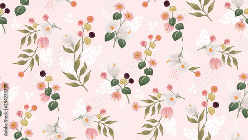 Vector illustration of a seamless floral pattern in spring for Wedding, anniversary, birthday and party. Design for banner, poster, card, invitation and scrapbook