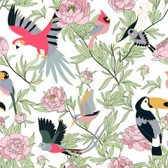 FototapetaSeamless pattern with peonies and parrots weaving together. Bright tropical pattern, flowering peonies, and birds. on white