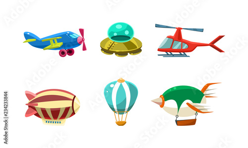 Cute cartoon aircrafts bright colors set, airplane, blimp, ufo, helicopter, hot Canvas Print