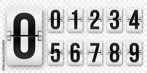 Countdown numbers flip counter Fototapet