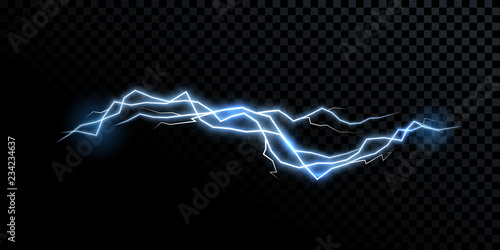Photographie  Electricity lightning thunderbolt vector realistic isolated thunder light on tra